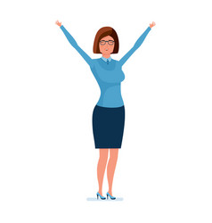 Young teacher holding her hands up rejoices vector