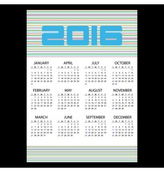 2016 simple business wall calendar with color vector image vector image