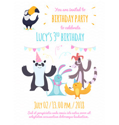 design template of invitation to kids party vector image vector image