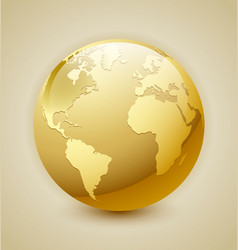 Golden Earth icon vector image