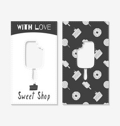 hand drawn silhouettes sweet shop business cards vector image