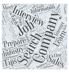 Job Search Tips For Sales Professionals Word Cloud vector image
