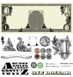 money and coin set vector image