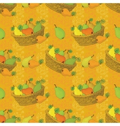 Seamless pattern baskets and fruits pears vector image