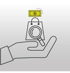searching bag shop money design vector image