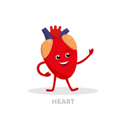 strong healthy heart cartoon character isolated on vector image vector image