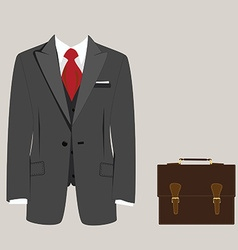 Suit and briefcase vector image vector image