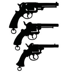 three silhouettes of retro revolvers vector image