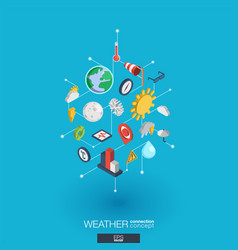 weather forecast integrated 3d web icons digital vector image vector image