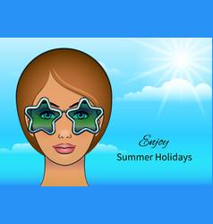 girl in stars sunglasses vector image vector image