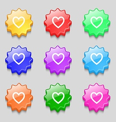 Medical heart Love icon sign symbol on nine wavy vector image