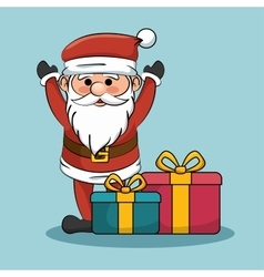 santa claus with gift boxes christmas design vector image