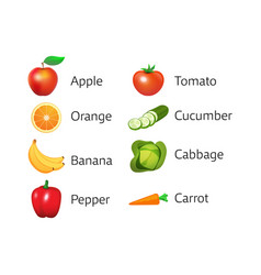 set of icons with fruits and vegetables vector image