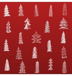 Doodle Christmas Tree Set on red Background vector image vector image