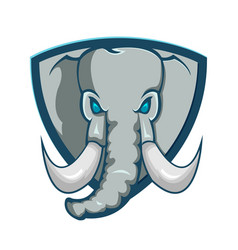 elephant shield logo cartoon symbol vector image