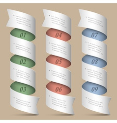 Numbered ribbons banners vector image vector image