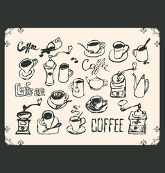 set drawing utensils for drinking tea and coffee vector image vector image