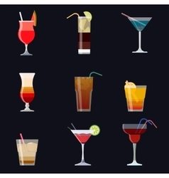 Set of alcoholic cocktails isolated on black vector image vector image