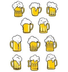 tankards of beer vector image vector image