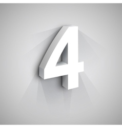 3d Number Four vector image
