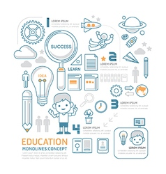 Flat mono line Infographic Education People concep vector image