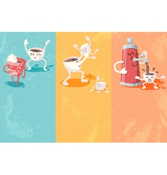 Grunge banners with cute coffee cup vector image vector image