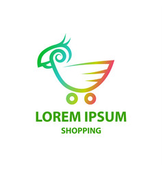 linear cockatoo and shopping trolley logo vector image vector image