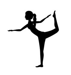 Silhouette yoga woman lord of the dance pose one vector