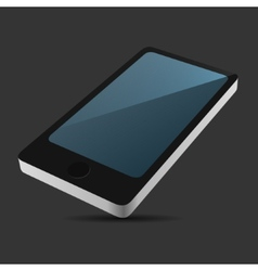 Smartphone 3D View Icon in Flat Style on Dark vector image