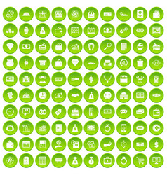 100 money icons set green circle vector