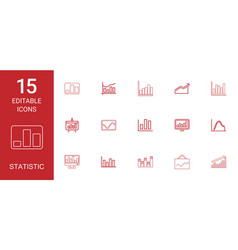 15 statistic icons vector image