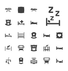 22 bed icons vector