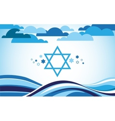 Abstract israel flag as sea and blue sky vector