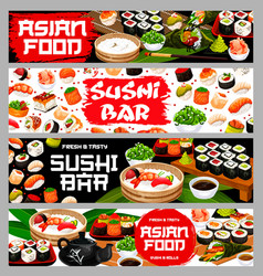 Asian food sushi and rolls japanese restaurant vector