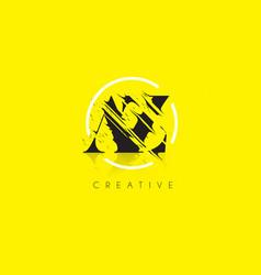 az letter logo with vintage grundge drawing vector image