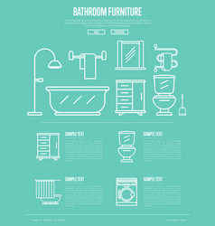 Bathroom furniture poster in linear style vector