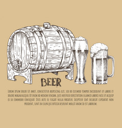 beer barrel and glass vintage hand drawn poster vector image