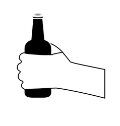 Black bottles of beer in the hand icon design vector