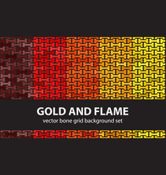 bone pattern set gold and flame seamless vector image