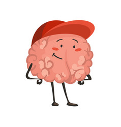 brain character emotion brain character standing vector image