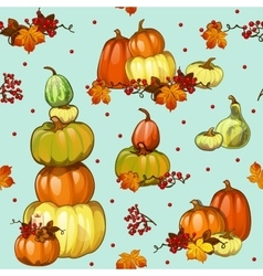 Bright autumn blue background with pumpkins vector image
