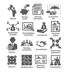 business management icons pack 43 vector image