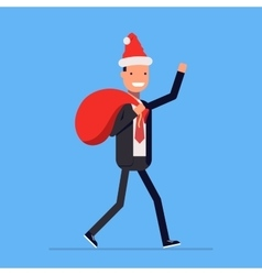 Businessman or manager dressed in a Santa Claus vector image