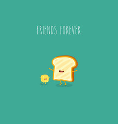 butter and bread are friends forever vector image
