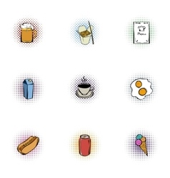 Calorie food icons set pop-art style vector