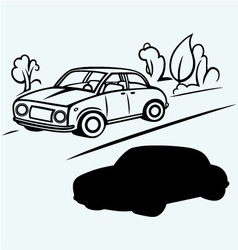 Car goes on the road in the woods vector image