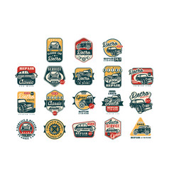car repair vintage style labels set auto service vector image