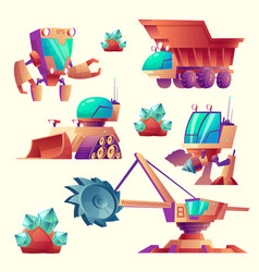 Cartoon alien mining machinery for planets vector