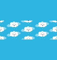 Cartoon cloud character crying rainy pattern vector