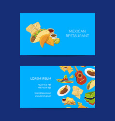 cartoon mexican food business card template vector image